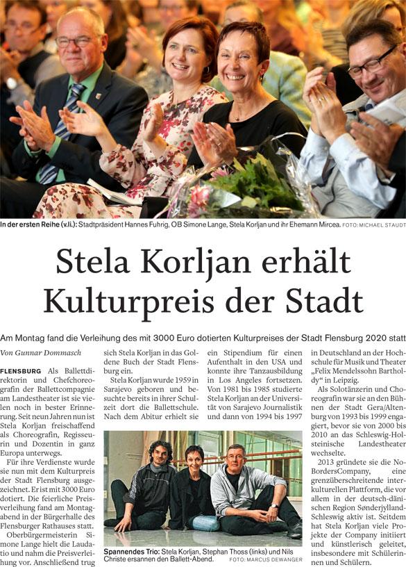 Stela Korljan erhält den Kulturpreis der Stadt Flensburg