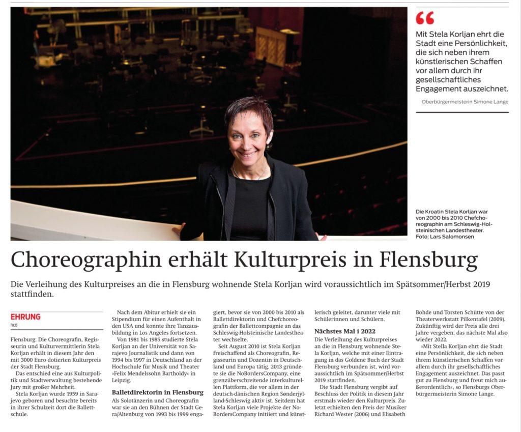 Choreografin erhält Kulturpreis in Flensburg